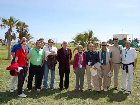 El Consejero de Turismo y Deporte de la Junta con la prensa especializada en golf en el  Open de Andalucía