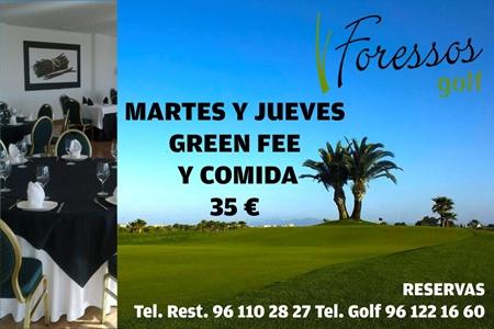 Foressos Golf: Martes y Jueves, Green Fee y Comida 35 €