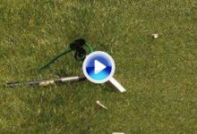 VÍDEO US Open: Momento en el que Sergio García destroza un micro en el tee del 3 al fallar el golpe