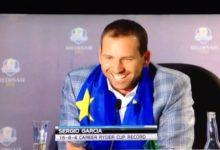 Broma con la cerveza a Sergio García en plena rueda de prensa Ryder Cup (VÍDEO)