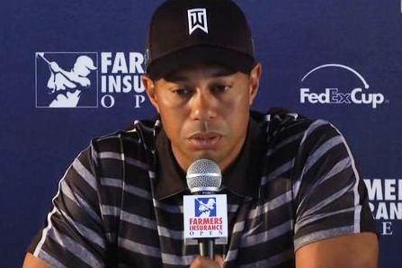 Tiger Woods durante la rueda de prensa de hoy en el Farmers Insurance
