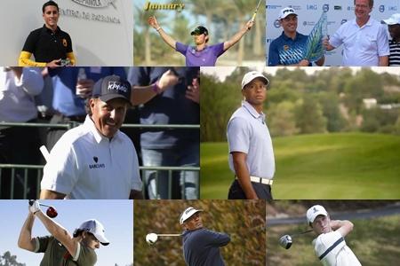 De izqda. a dcha. y de arriba a abajo Pigem, Wood, Oosthuizen, Mickelson, Tiger Woods, McIlroy, Singh y Pastor