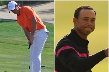 Rory McIlroy (izqda.) y Tiger Woods