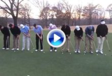 Como meter un putt nueve jugadores a la vez en un mismo hoyo (VÍDEO)