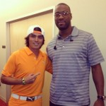 Rickie Fowler con Calvin Johnson Jr.  receptor de los Detroit Lions