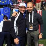 José Mari Olazábal con Pep Guardiola en la pasada Ryder Cup en Medinah