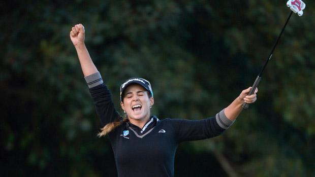 Beatriz Recari, tras embocar el putt ganador. Foto- Donald Miralle (Getty Images)