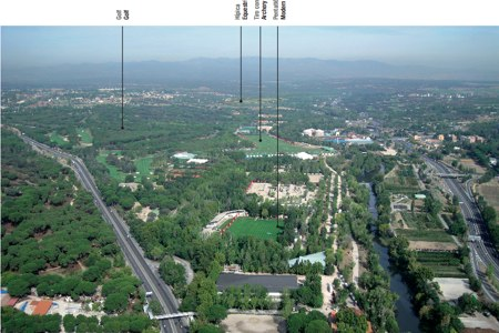 Foto aérea del Club de Campo Villa de madrid, sede prevista para el golf, pentatlón y tiro con arco