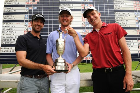 Eduardo de la Riva, junto a Harding y Lloyd. Foto: The Open