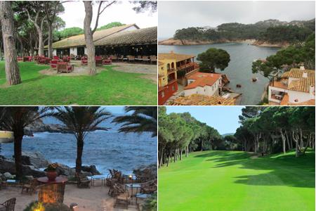 De iz. a dch, y de arriba a abajo: Golf Platja de Pals, Hotel Aigua Blava, Lloret de Mar, Hoyo de Platja de Pals