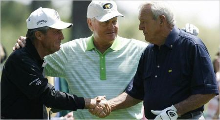 Player, Nicklaus (centro) y Palmer
