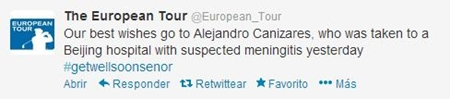 Twitter del European Tour informando de Alejandro Cañizares