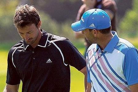 Juan Carlos Ferrero junto a Sergio García durante el pasado Open de España