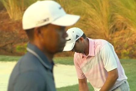 Sergio García y Tiger Woods, durante The Players