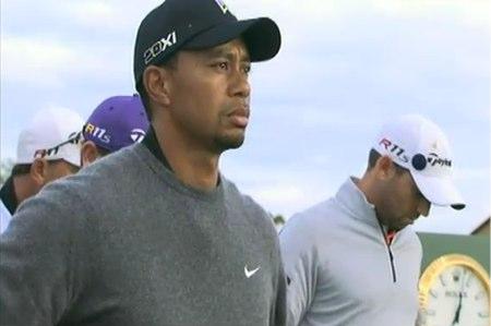 Sergio García y en primer término Tiger Woods