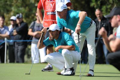 Pablo Larrazábal y Miguel Ángel Jiménez, en la foto en el Seve Trophy, estarán esta semana en Austria