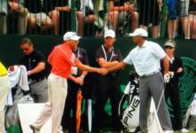 La foto más buscada, el apretón de manos entre Tiger y Sergio