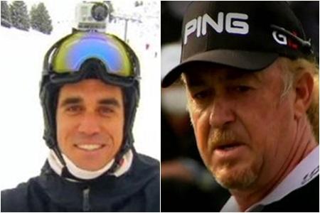 Rafa Cabrera-Bello, con ropa de esquí, y Miguel Ángel Jiménez (dcha.)