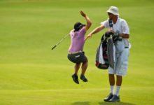 Así celebró su 'eagle' en el US Open: ¡por todo lo alto!