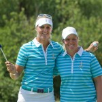 Anna Nordqvist and Caroline Hedwall celebrate their win on the par 3 17th hole after Anna holed her tee shot