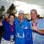 Captain Liselotte Neuman celebrates the victory with Alicia Garrido & Iñigo Aramburu