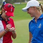 Charley Hull gets Paula Creamer to sign her ball after beating her