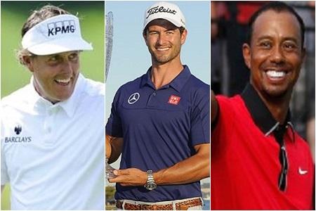 De izqda. a dcha., Phil Mickelson, Adam Scott y Tiger Woods