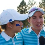 Azahara Munoz and Carlota Ciganda in their post match interview