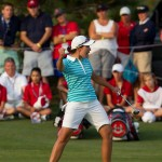 Carlota Ciganda celebrates holing the winning putt in her match 2