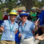 Former Vice Captain Jo Morley and Former Captain Alison Nicholas show their colours on the 5th holo