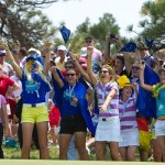 Junior Solheim Cup players cheer on the European Team