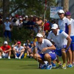 Suzann Pettersen and Carlota Ciganda line up a putt