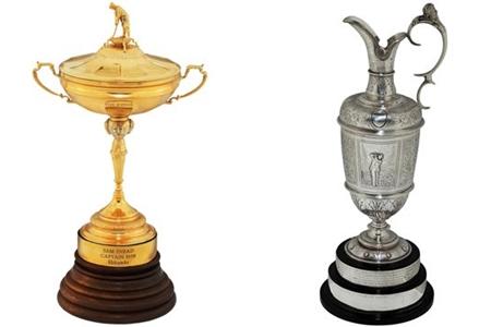 Algunos de los trofeos subastados de Sam Snead. Foto Cortesía de Heritage Auctions