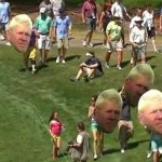 Cabezas gigantescas de John Daly en un campo de golf