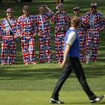 Fans de Europa vestidosa con los colores de la Union Jack en Medinah