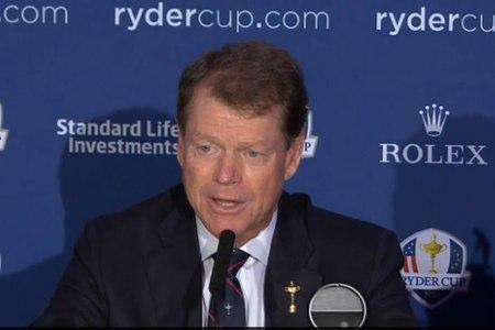Tom Watson, durante la rueda de prensa en Gleneagles, de la Ryder Cup 2014