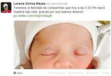 Lorena Ochoa anunció el nacimiento de 2º hijo vía Twitter