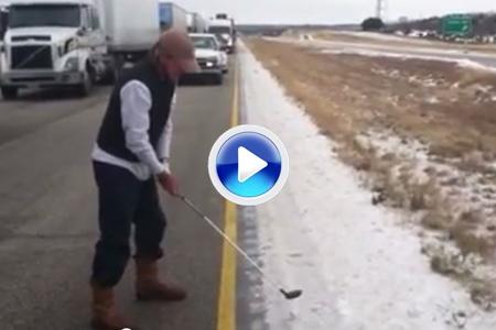 Peterson se vio en un atasco y se lió a tirar bolas ¡a seis grados bajo cero! (VÍDEO)