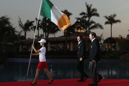 Rory McIlroy and Graeme McDowell representando a Irlanda en Mission Hills en una Copa del Mundo