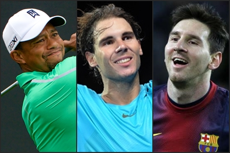 Tiger Woods, Rafa Nadal y Leo Messi