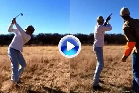 Rocambolesca afición: Golf y tiro al blanco, todo en uno (VÍDEO)