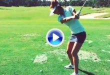 Michelle Wie mostró su swing a zurdas, véalo en este VÍDEO