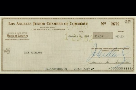 Primer cheque Jack Nicklaus