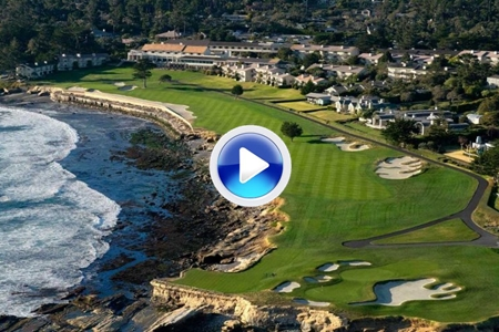 La belleza de Pebble Beach Links a vista de pájaro