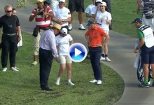 Una espectadora se lleva como trofeo la bola en juego de Luke Donald (VÍDEO)