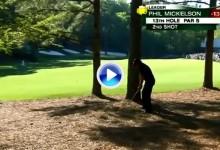 La magia de Mickelson afloró en este golpe desde 187 m. entre la pinaza de Augusta (VÍDEO)