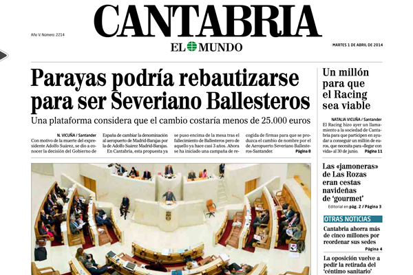 El Mundo Cantabria - Portada