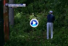 Increible golpe de recuperación de Chesson Hadley de entre unos arbustos (VÍDEO)