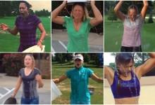 Las chicas también aceptaron el desafío de echarse por la cabeza el cubo de agua helada (VÍDEO)