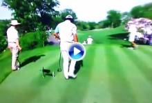 El japonés Matsuyama falló el golpe en el 18 y la pagó con el driver rompiéndolo (VÍDEO)